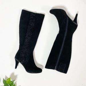 Kenneth Cole Black Knee High Boots Kitten Heel